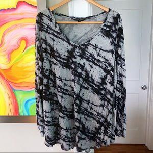 SIMPLY VERA Tie-Dye Abstract Cozy Long Sleeve Tee